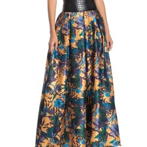 NWT: Floral & Faux Leather Maxi Skirt